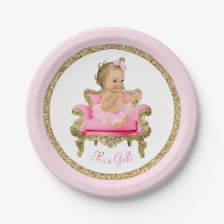 Pink Gold Pearl Chair Girl Baby Shower Paper Plate