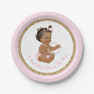Pink Gold Pearl Ethnic Girl Baby Shower 7 Inch Paper Plate