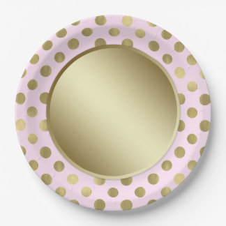 Pink Gold Polka Dot Birthday Party 9 Inch Paper Plate