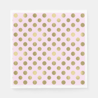 Pink Gold Polka Dot Birthday Party Paper Napkins