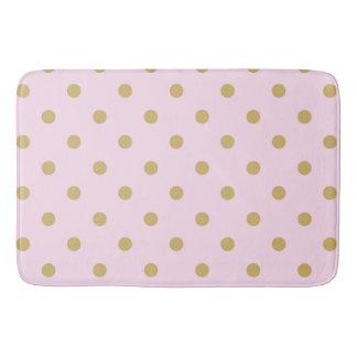 Pink & Gold Polka Dots Modern Trendy Girly Pattern Bath Mat