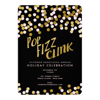 Pink | Gold Pop Fizz Clink Holiday Office Party Card