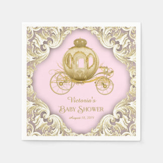 Pink Gold Princess Carriage Baby Shower Napkin