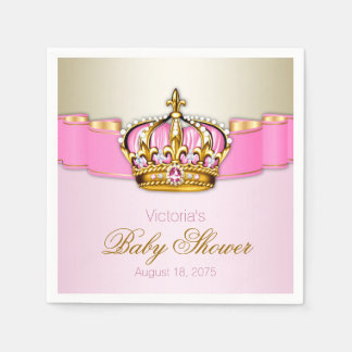 Pink Gold Princess Crown Baby Shower Disposable Napkin