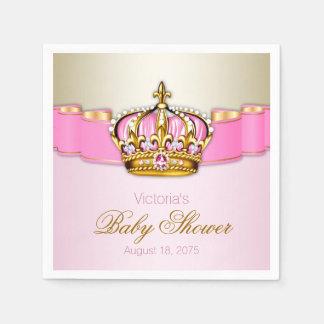 Pink Gold Princess Crown Baby Shower Napkin