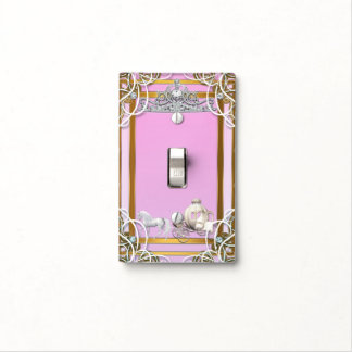 Pink Gold Princess Crown & Carriage Fairy Tale Light Switch Cover