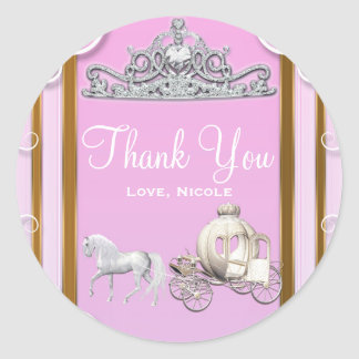 Pink Gold Princess Crown & Carriage Sweet 16 Party Classic Round Sticker