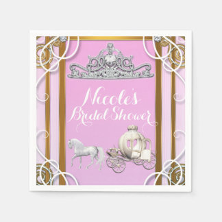 Pink Gold Princess Crown & Carriage Sweet 16 Party Paper Napkins