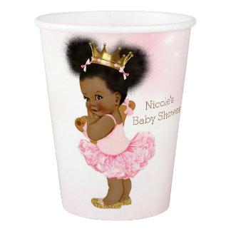 Pink Gold Princess Vintage Black Baby Girl Shower Paper Cup