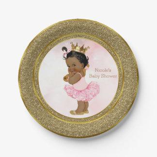 Pink Gold Princess Vintage Dark Baby Girl Shower Paper Plate