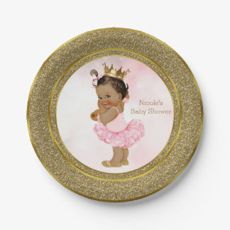 Pink Gold Princess Vintage Tan Baby Girl Shower Paper Plate