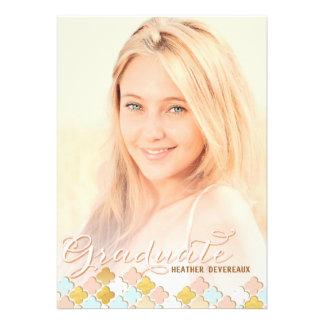 Pink Gold Quatrefoil Senior Photo Graduation Invitation