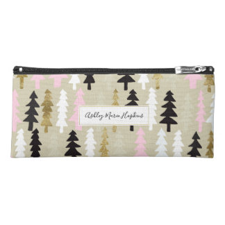 Pink & Gold Retro Tree Pattern Pencil Case
