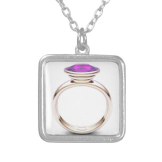 Pink gold ring silver plated necklace