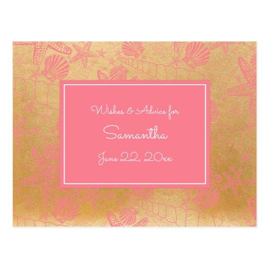 Pink Gold Sea Shells Baby Advice, prayers 3988 Postcard