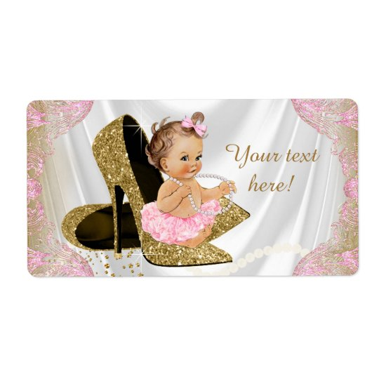 Pink Gold Shoe Baby Shower Water Bottle Labels