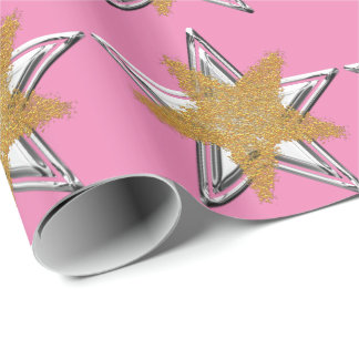 Pink Gold silver Star Wrapping Paper