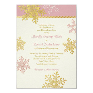 Pink Gold Snowflake Winter Wedding Invitation