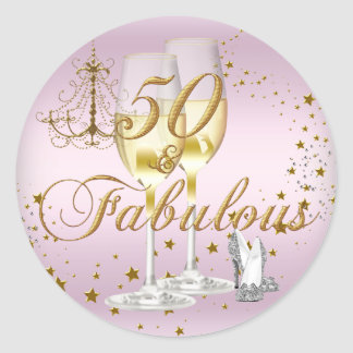 Pink Gold Sparkle 50 & Fabulous Birthday Sticker