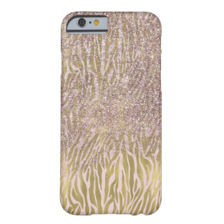 Pink Gold Sparkle Faux Glitter Zebra Print Barely There iPhone 6 Case