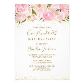 Pink Gold Sparkle Rose 100th Birthday Invitation