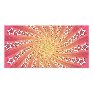 Pink & Gold Star Spiral: Custom Photo Card