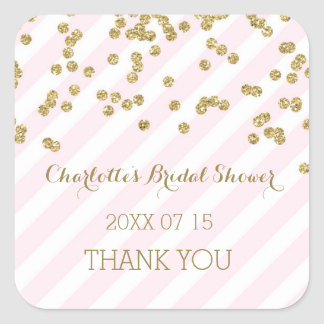 Pink Gold Stripes Bridal Shower Favor Tags Square Sticker