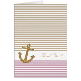 Pink Gold Stripes Glitter Anchor thank you Note Card