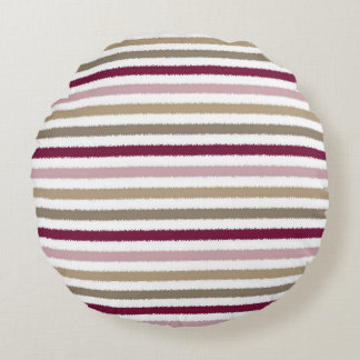 Pink Gold Stripes Round Pillow