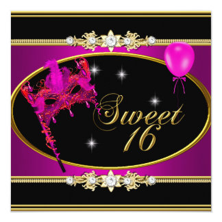 """Pink Gold Sweet Sixteen Sweet 16 Masquerade 5.25"""" Square Invitation Card"""