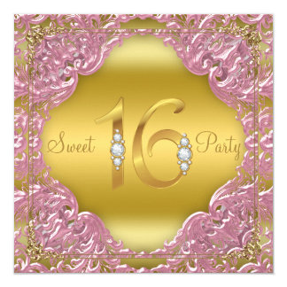 "Pink Gold Swirl Fancy Sweet 16 Party 5.25"" Square Invitation Card"