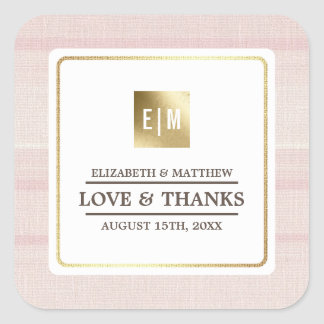 Pink | Gold Thank You Wedding Favor Stickers