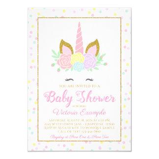 Pink Gold Unicorn Face Girl Baby Shower Invitation