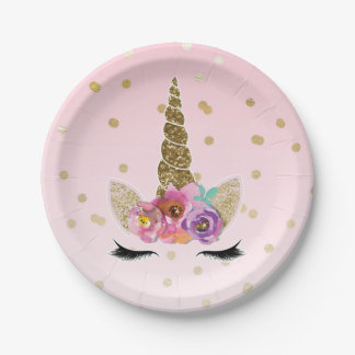 Pink & Gold Unicorn Floral Horn Birthday Party Paper Plate