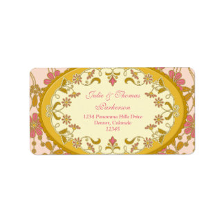 Pink Gold Vintage Victorian Wedding Return Address Label