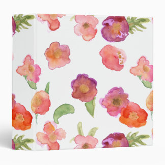 Pink Gold Watercolor Floral 3 Ring Binders