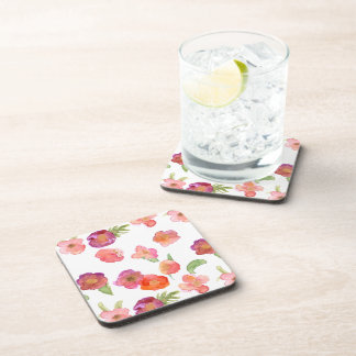 Pink Gold Watercolor Floral Coasters