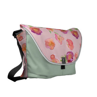 Pink Gold Watercolor Floral Messenger Bags