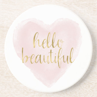 Pink Gold Watercolor Heart Hello Beautiful Coaster