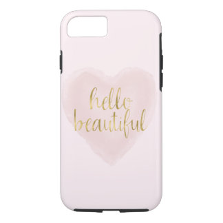 Pink Gold Watercolor Heart Hello Beautiful iPhone 8/7 Case
