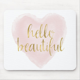 Pink Gold Watercolor Heart Hello Beautiful Mouse Pad