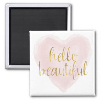 Pink Gold Watercolor Heart Hello Beautiful Square Magnet