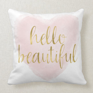 Pink Gold Watercolor Heart Hello Beautiful Throw Pillow
