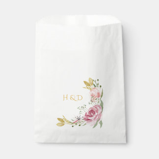 Pink Gold Watercolor Roses Favor Bags