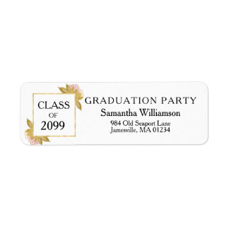 Pink, Gold White Graduation Return Address Labels
