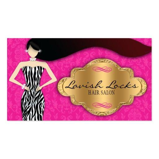 Pink Gold Zebra Damask Hair Stylist Business Card