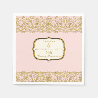 Pink Golden 50th Wedding Anniversary Celebration Paper Napkin