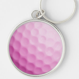 Pink Golf Ball Background Customized Template Silver-Colored Round Keychain