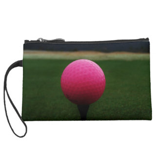 Pink Golf Ball on a mountain golf course Suede Wristlet