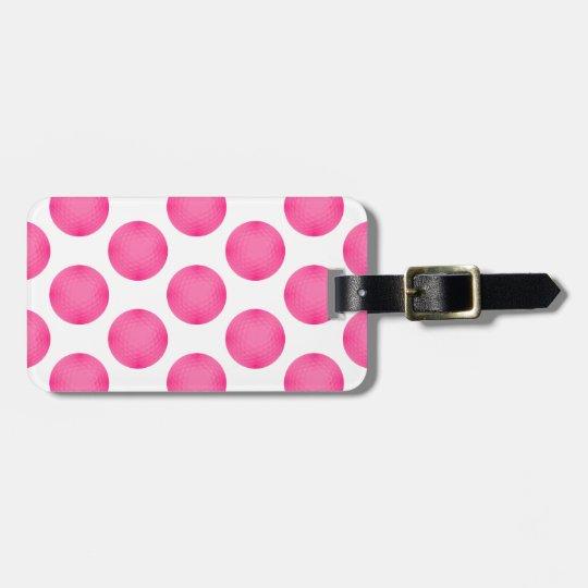 Pink Golf Ball Pattern Bag Tag